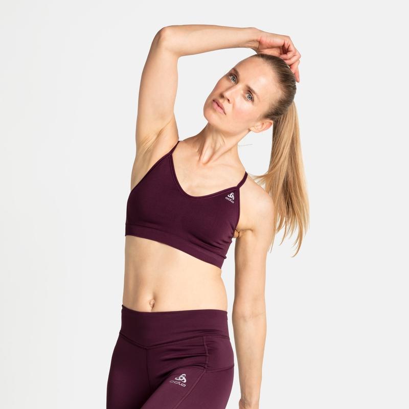 Women's SEAMLESS SOFT Sports Bra, winetasting - grey melange, large