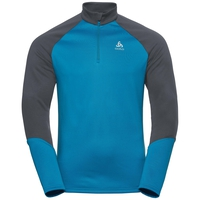 Men's PLANCHES 1/2 Zip Midlayer, odlo graphite grey - blue jewel, large