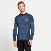 Baselayer a collo alto con mezza zip BLACKCOMB da uomo, estate blue, large