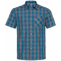 Men's MYTHEN Short-Sleeve Shirt, mykonos blue - grey melange, large