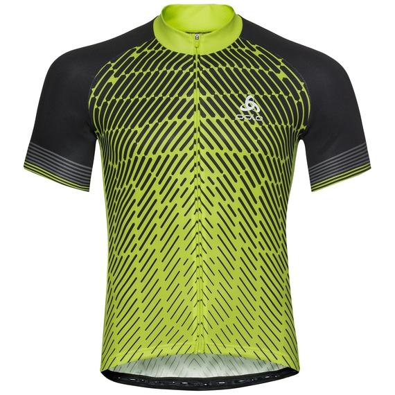 Men's FUJIN PRINT Short-Sleeve Cycling Jersey, acid lime - black, large