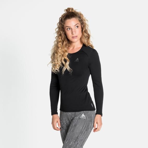 Haut à manches longues ACTIVE THERMIC pour femme, black melange, large