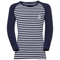 Shirt l/s crew neck WARM KIDS R&S, peacoat - white - stripes, large