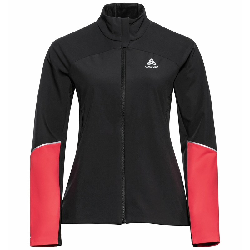 The Engvik jacket, black - poppy red, large