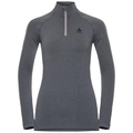 Women's PERFORMANCE WARM 1/2 Zip Turtle-Neck Long-Sleeve Base Layer Top, grey melange - black, large