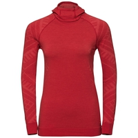 Women's NATURAL + KINSHIP WARM Base Layer Top with Face Mask, baked apple melange, large