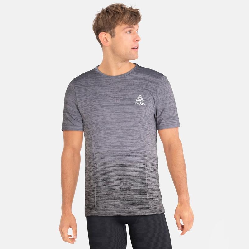 Basislaag Top met ronde hals k/m VIGOR NAADLOOS, odlo steel grey - black, large