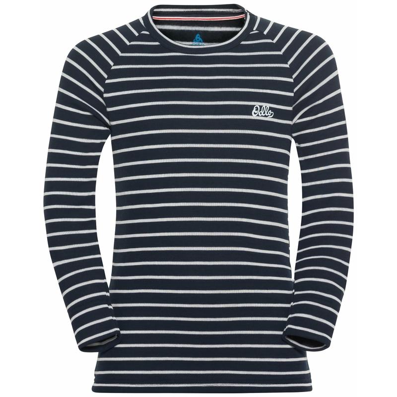 The Active Warm Originals ECO kids stripes long sleeve, dark sapphire - odlo silver grey, large