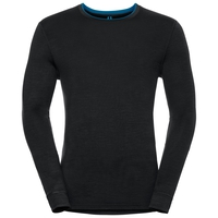 Natural 100 Merino Warm baselayer shirt men, black - mykonos blue, large