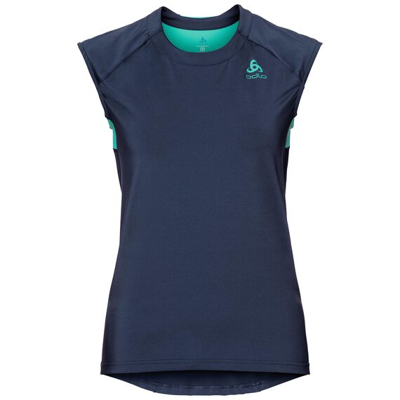 BL TOP Crew neck s/s Ceramicool, diving navy - pool green, large