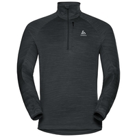 Midlayer 1/2 zip STEAM, black melange, large