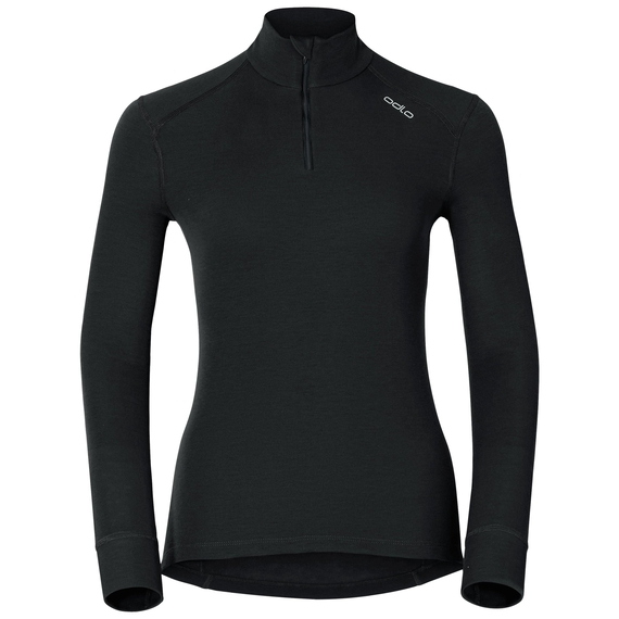 Maglia Base Layer con collo alto, 1/2 zip e manica lunga ACTIVE WARM da donna, black, large