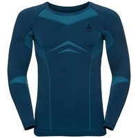 Men's PERFORMANCE EVOLUTION WARM Long-Sleeve Base Layer Top, poseidon - blue jewel, large