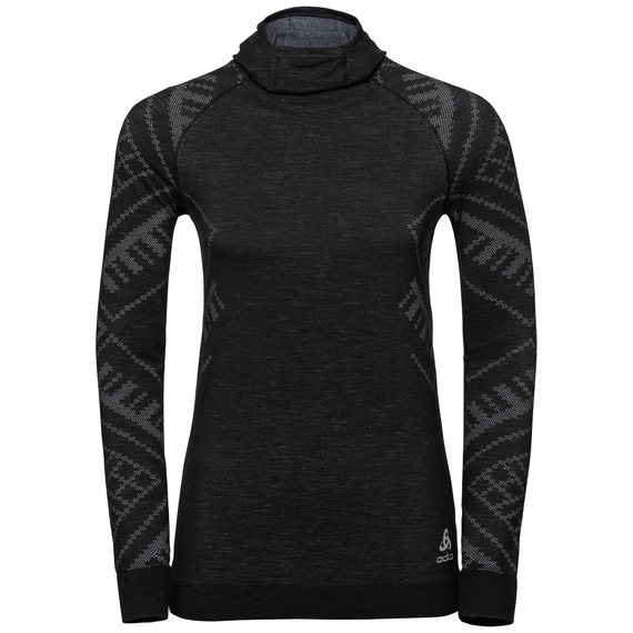 Sous-vêtement technique T-shirt manches longues à cagoule NATURAL + KINSHIP WARM pour femme, black melange, large