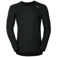 Langermet skjorte med v-hals ORIGINALS WARM, black, large