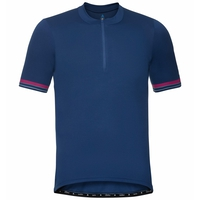 Men's ELEMENT Short-Sleeve 1/2 Zip Cycling Jersey, estate blue, large