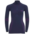 EVOLUTION WARM baselayer shirt half-zip, peacoat - pink glo, large