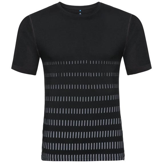 BL TOP Crew neck s/s NIKKO 100% MERINO PRINT, black with fading stripes print, large
