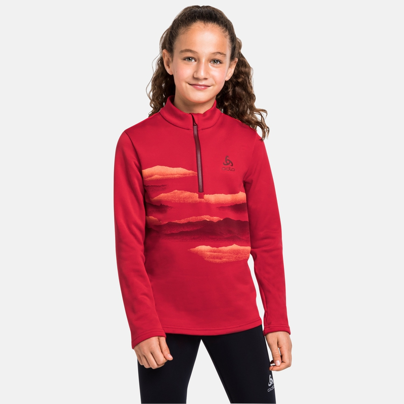 The Berra kids long sleeve mid layer half zip, chinese red, large