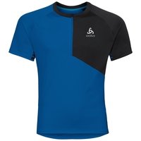 Maillot 1/2 zip manches courtes et col montant MORZINE ELEMENT, energy blue - black, large