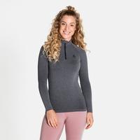 Women's PERFORMANCE WARM ECO ½ Zip Turtleneck Baselayer Top, grey melange - black, large