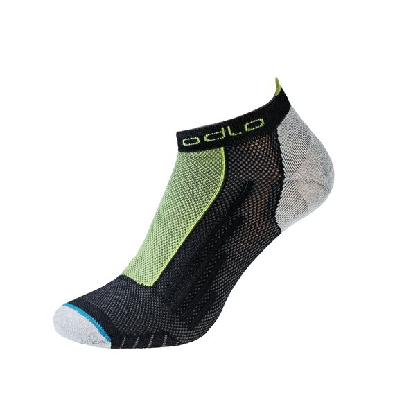 Socks low cut LIGHT, black - acid lime, large