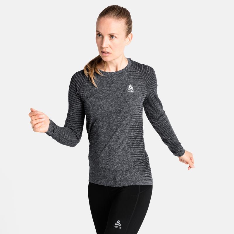 T-shirt de Running à manches longues ESSENTIAL SEAMLESS pour femme, grey melange, large