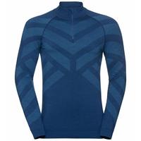 Men's NATURAL + KINSHIP WARM Half-Zip Turtleneck Baselayer Top, estate blue melange, large