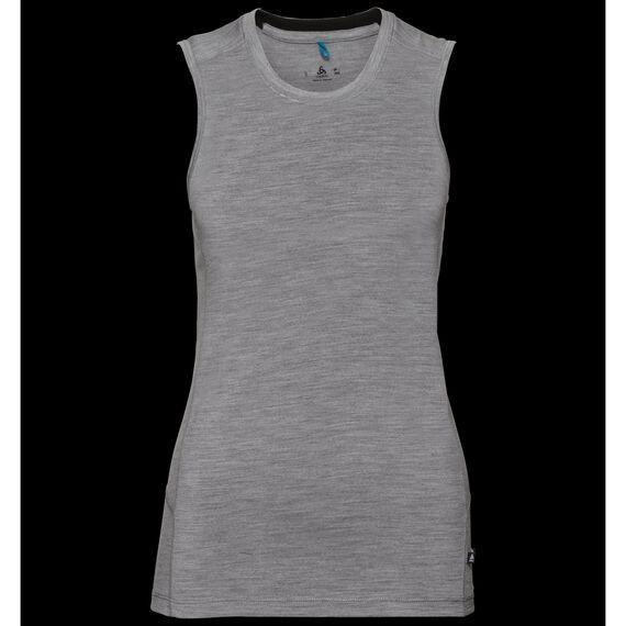 SUW TOP Crew neck Singlet NATURAL 100% MERINO WARM, grey melange - black, large