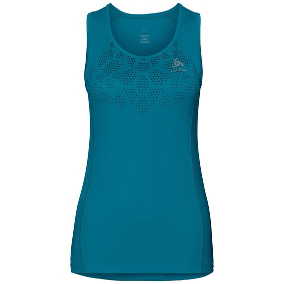 SELLA bike singlet, crystal teal - placed print SS18, large
