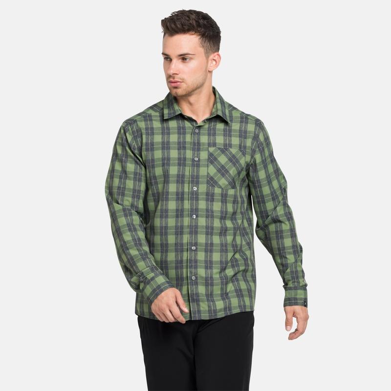 Chemise à manches longues MYTHEN pour homme, green eyes - grey melange - check, large