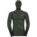 Men's BLACKCOMB Long-Sleeve Base Layer Top with Face Mask, climbing ivy - black - orange clown fish, large
