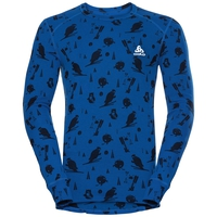 SUW Top Crew neck l/s ACTIVE ORIGINALS Warm GOD JUL PRINT, energy blue - diving navy - AOP FW18, large