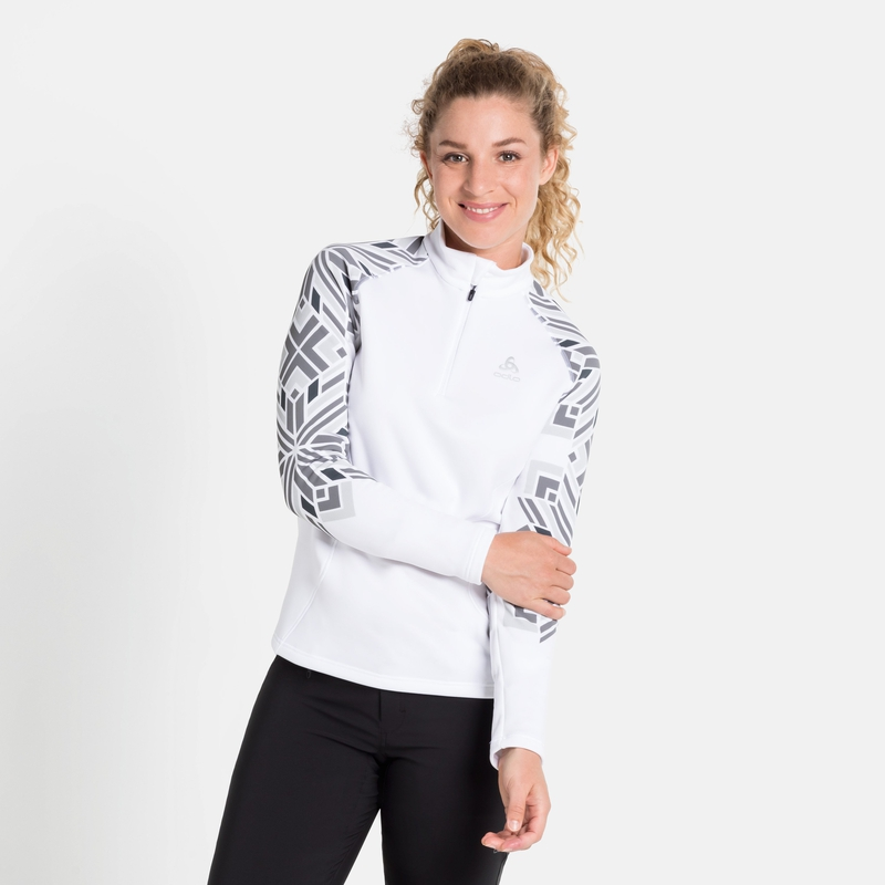 Women's SNOWCROSS 1/2 Zip Mid Layer, white - graphic FW20, large