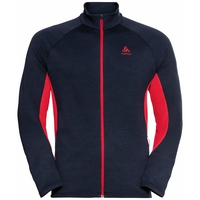 The Berra long sleeve mid layer zip, dark sapphire - chinese red, large