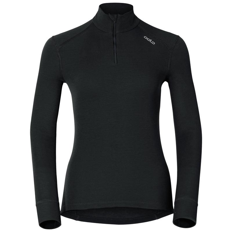 Damen ACTIVE WARM Funktionsunterwäsche Langarm-Shirt mit 1/2 Reißverschluss, black, large