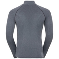 Men's PERFORMANCE WARM 1/2 Zip Turtle-Neck Long-Sleeve Base Layer Top, grey melange - black, large