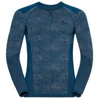 Shirt l/s crew neck Blackcomb EVOLUTION WARM, blue opal - black - black, large