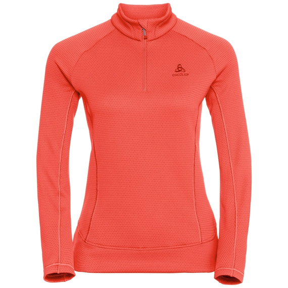Midlayer 1/2 zip INYO, hot coral, large