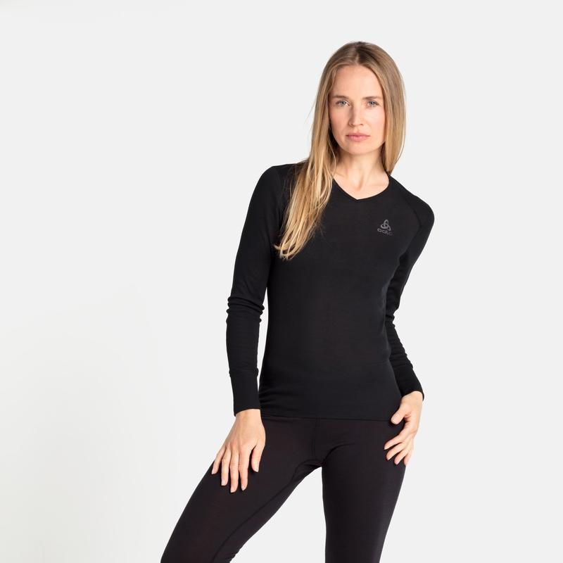 Women's ACTIVE WARM ECO V-Neck Base Layer Top, black, large