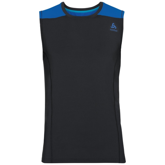 BL Top Crew neck s/l CERAMICOOL, black - energy blue, large