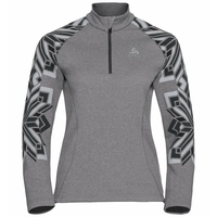 Women's SNOWCROSS 1/2 Zip Midlayer, grey melange - graphic FW20, large