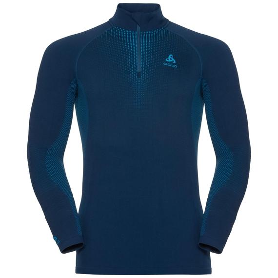 Men's PERFORMANCE WARM 1/2 Zip Turtle-Neck Long-Sleeve Base Layer Top, poseidon - blue jewel, large