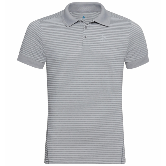 Men's NIKKO DRY Polo Shirt, odlo concrete grey - odlo silver grey - stripes, large