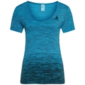 BL TOP V-neck s/s SEAMLESS KAMILERA X, blue jewel, large