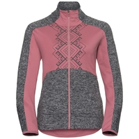 Midlayer full zip SKADI LIGHT, mesa rose - black melange, large