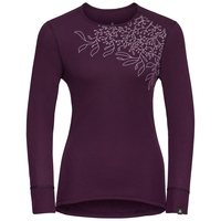 Women's ACTIVE WARM PRINT Long Sleeve Base Layer Top, pickled beet, large