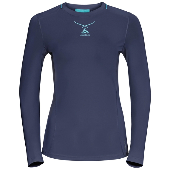 Ceramicool pro baselayer shirt met lange mouwen voor dames, peacoat - blue radiance, large