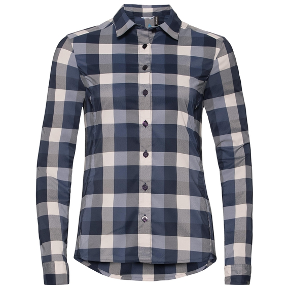 Chemise KUMANO CHECK, diving navy - crystal gray - blue indigo - check, large