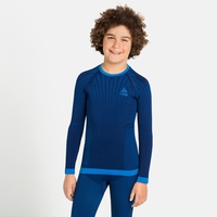 T-shirt à manches longues PERFORMANCE WARM KIDS pour enfant, estate blue - directoire blue, large